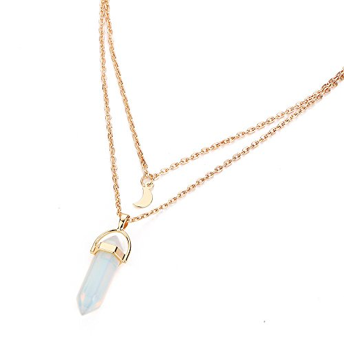 -  Orcbee  _Women Multilayer Irregular Crystal Opals Pendant Necklace Choker Chain (White)