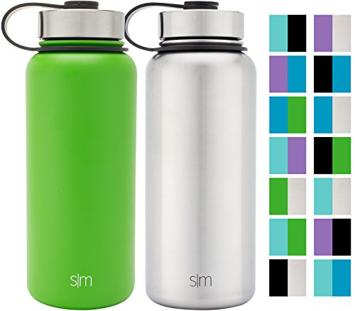 Simple Modern 32oz Summit Water Bottle 2 Pack - Two Vacuum Insulated Stainless Steel Wide Mouth Hydro Travel Mugs - Powder Coated Double-Walled Flask - Candy Apple Green/Stainless Steel