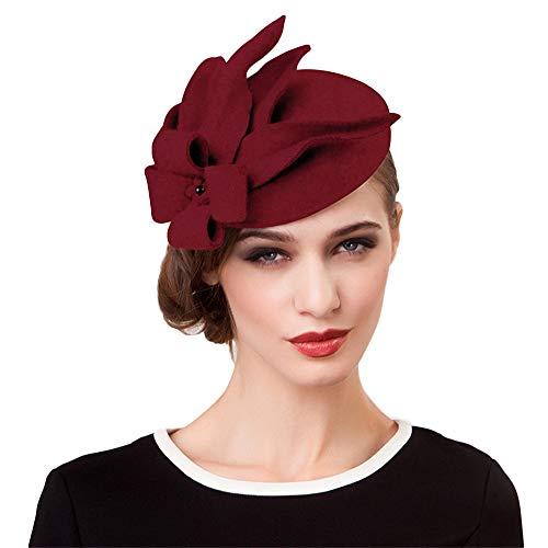 Elegant Wedding Wool Felt Fascinator Cocktail Pillbox Hat Ladies Winter Floral Fedoras (Wine red)