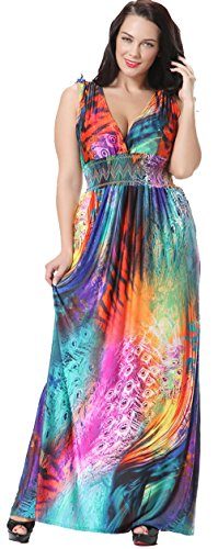 Jusfitsu-Womens-V-neck-Floral-Printed-Beach-Boho-Maxi-Dress-Plus-Size