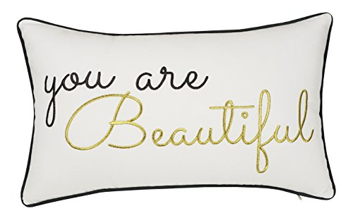 Trivenee Tex Pillowcase Embroidered Love Valentine Long Distance Relationship Decorative Throw Pillow Cover Gift for Wedding Anniversary Wife Girlfriend Christams (U R Beautiful(Ivory), ()
