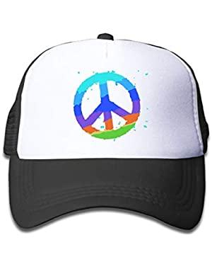 Colorful Peace On Kids Trucker Hat, Youth Toddler Mesh Hats Baseball Cap