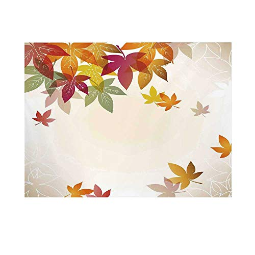 Fall Decorations Photography Background,Silhouettes of Maple Tree Leaves in Pastel Classical Shady Nature Graphic Backdrop for Studio,20x10ft