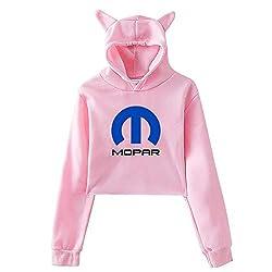 Mo Par Womens Girls Cute Cat Ear Hoodies Crop Top Novelty Pullover Sweatshirts Pink