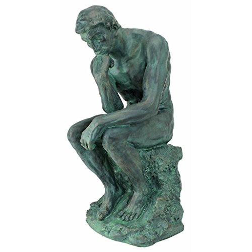 - Design Toscano Rodin's Thinker Man Statue, Large, 16 Inch, Polyresin, Bronze Verdigris Finish