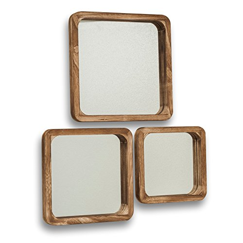 - Whole House Worlds The Rustic Boho Chic Square Mirror Trio, Set of 3, 9 3/4, 11 3/4, and 13 3/4 Inches Square, Solid Sustainable Wood Frame, Glass, Saw Tooth Hanger on Backs, By WHW