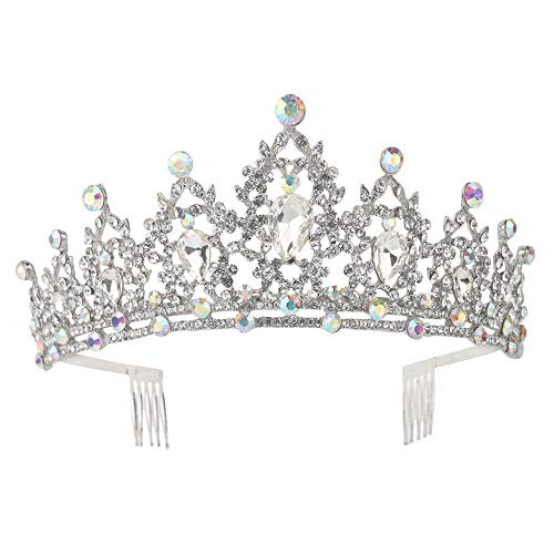 Sppry Women Tiara with Comb - Colorful AB Crystals Crown for Bridal Princess Girls at Wedding Birthday Pageant (Silver)