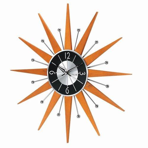 Telechron Starburst Clock -orange wall art - vibrant orange wall clocks orange themed home