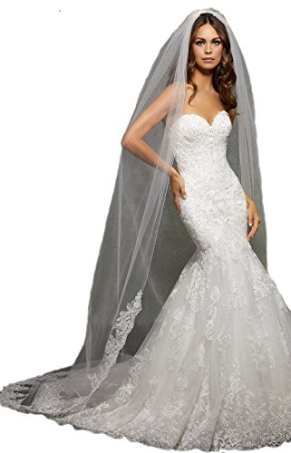 Passat Pale Ivory Single-Tier 2M Chapel Long Wedding Bridal Veil Edged with Lace, Beaded with Sequins and Rhinestones VL1057 Size by Passat