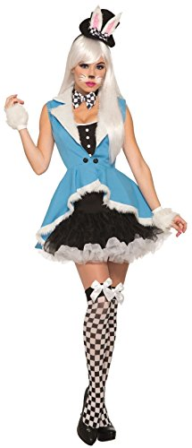 Forum Women's White Rabbit Deluxe Costume, Black/Blue, (Alice In Wonderland Characters White Rabbit Costume)