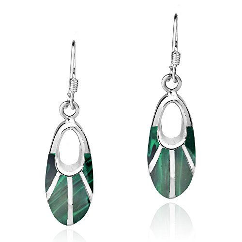Celestial Oval Green Malachite Inlay .925 Sterling Silver Dangle Earrings ()
