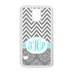 Personalized Grey White Chevron Pattern Vs Vintage European Pattern Turquoise Initials Unique Custom Samsung Galaxy S5 Best Durable PVC Cover Case Custom Color and Text,New Fashion, Best Gift by ruishername