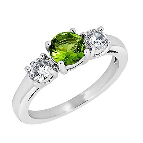 (Fantasy Forge Jewelry Womens August Birthstone Ring Simulated Peridot Green Cubic Zirconia Stainless Steel Band Size 10)