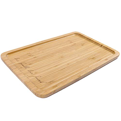 - Bamboo Rectangular Serving Tray, Engraved LOVE FOOD LOVE LIFE 16 x 10 Inch Food Tray, Serving Platters for Coffee Wine Cocktail Fruit Meals