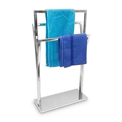 Relaxdays de mano con soporte de acero inoxidable con tapa de 3 varillas de 86 x 50 x 20 cm de superficie de & independiente con cromado toallero de 3 ...
