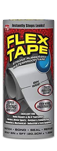 Flex Tape Rubberized Waterproof Tape, 8 inches x 5 Feet, Gray