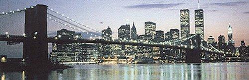 Buyartforless Manhattan Skyline The Bridge and Beyond 36x12 Art Print Poster Panoramic Night Brooklyn Bridge Twin Towers World Trade Center New York City Michael Pasdzior