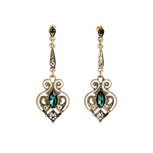 ALMAATA Jewelry Vintage Ethnic Crystal Baroque Bohemian Long Drop Dangle Earrings for Women Girls (Green)