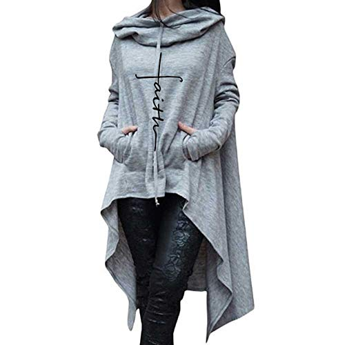 GOVOW Women Cotton Casual Soft Irregular Hood Sweatshirt