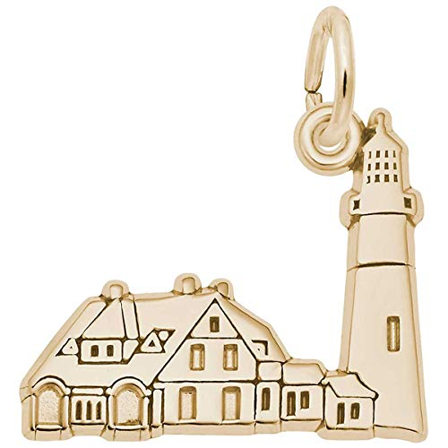 Rembrandt Charms Portland Head Lighthouse, Maine Charm, 14K Yellow Gold