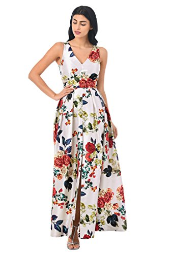 Floral Print Banded Empire Dress (eShakti Women's Banded Empire Floral Print dupioni Maxi Dress XL-18 Short Multi)