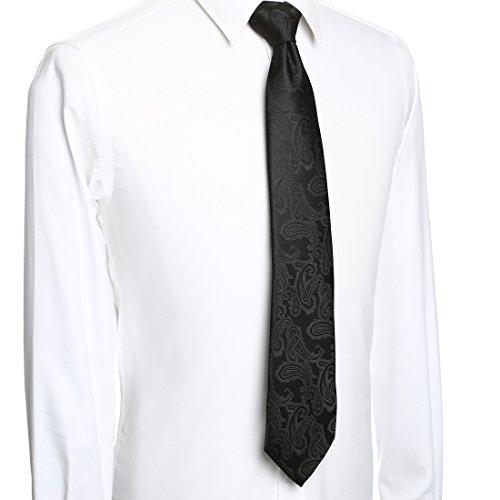 KissTies Extra Long Tie Set: Black Paisley Necktie + Hanky + Gift Box (63'' XL) by KissTies (Image #6)