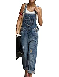 Casual Ripped Hole Distressed Jumpsuits Bib Loose Fit Denim Overalls