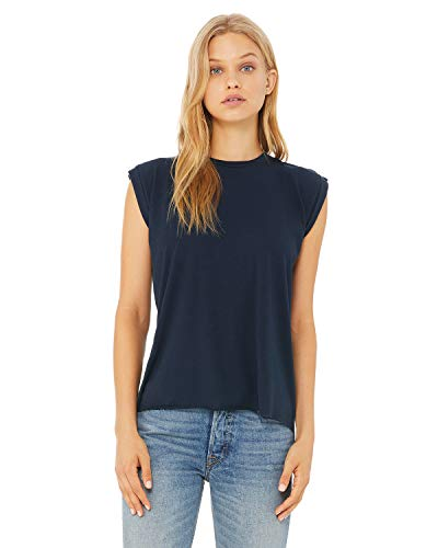 Bella + Canvas - Women's Flowy Muscle Tee with Rolled Cuffs - 8804 - M - Midnight