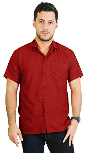 La Leela Matching hawaiian shirt and dresses mens 70s 80s 90s retro Vintage Island mens Shirt XS Red Mothers Day Fathers Day Gifts Spring Summer Collection (Cheap 80s Dresses)