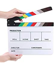 "Hilitchi Acrylic Plastic Slate 25x30cm/10x12"" Dry Erase Director's Film Clapboard Cut Action Scene Clapper Board Slate with Color Sticks"