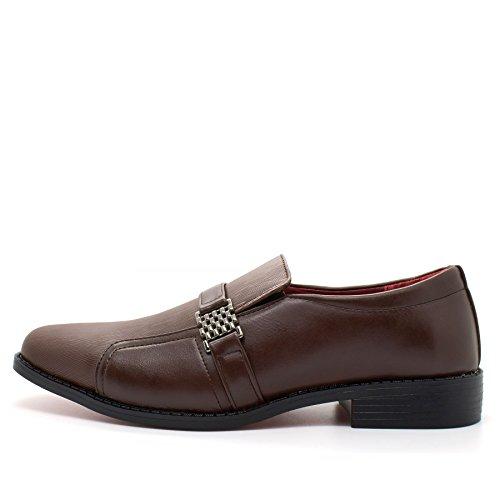 estilo Unido Los de en un para hombre formal negros marrón elegante se con italiano hebillas zapatos de boda Reino nuevos vestido deslizan qR4gwRxY