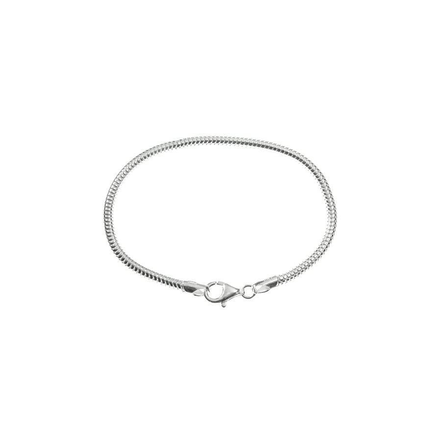 Queenberry Sterling Silver Snake Cable Bracelet with Lobster Clasp For European Bead Charms