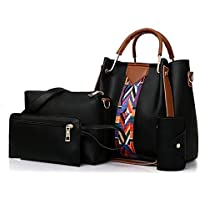 Women Tote Bag Handbags Set 4Pcs One Shoulder Bag One Hand Bag And Two Purses PU Leather