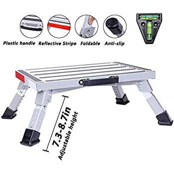 Homeon Wheels Stable RV Steps Adjustable Height Aluminum Folding Platform Step with Non-Slip Rubber Feet, Reflective Stripe, Handle, RV T Level, More Stable Up to 1000 lbs 16.5