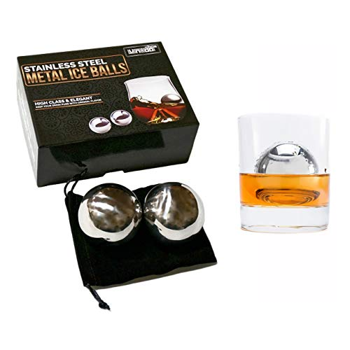 Premium Stainless Steel Ice Ball Chillers, Set of 2, Wine Whiskey Coolers Barware