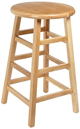 "Diversified Woodcraft 5024K Oak Wood Stool with Square Post Legs, 14"" Width x 24"" Height x 14"" Depth"