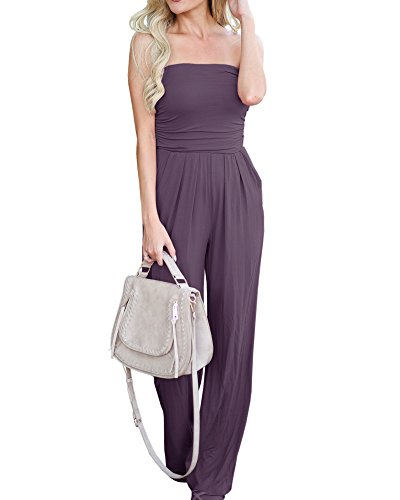 Ruched Leg Pant - Imily Bela Womens Strapless High Waist Casual Ruched Wide Leg Jumpsuit with Pockets