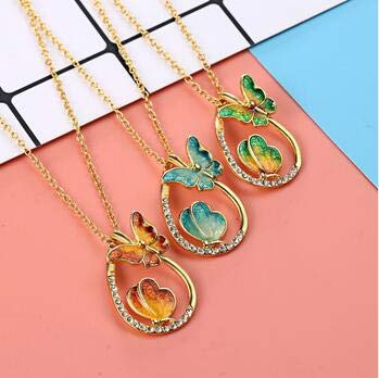NOUMANDA Fashion Nature Colorful Enamel Double Butterfly Crystal Teardrop Pendant Necklace