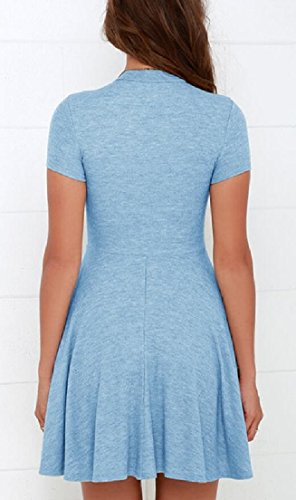 Mock Casual Mini Blue Dress Dresses Short Swing Solid Alion Sleeve Neck Women z0RIqI