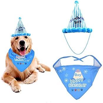Dog Birthday Hat Pet Boy Girl Set Triangle Scarf Bandana Scarfs With Cute