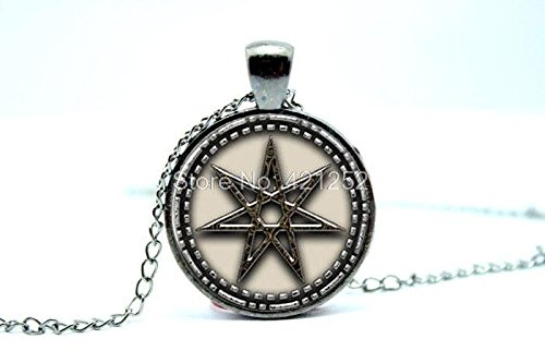 ion Elven Star Or Faerie Star Pendant Necklace Glass Photo Cabochon Necklace Christmas gift ()
