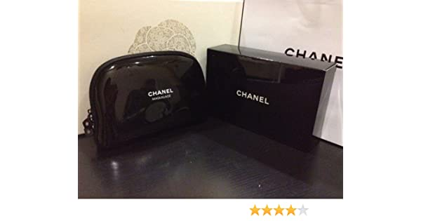 aa72556b4f4fc9 Amazon.com : Chanel Maquillage Black Faux Patent Leather with White  Lettering Cosmetic Make-up Zippered Pouch Bag : Makeup Travel Cases And  Holders : Beauty