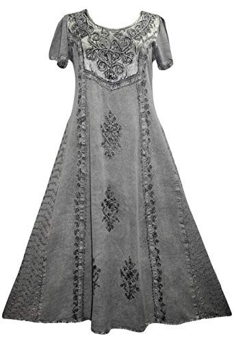 Caftan Vintage - Agan Traders 1024 DR Vintage Embroidered Sun Dress Gown (M, Silver Gray 2)