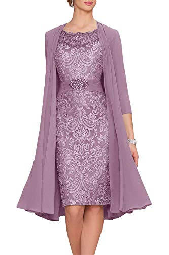 - Newdeve Chiffon Mother of The Bride Dresses Tea Length Two Pieces with Jacket Lilac Gray
