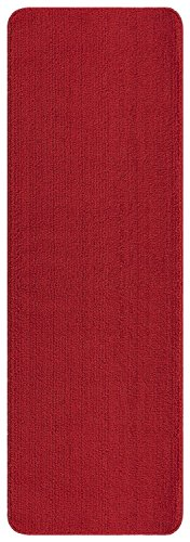 Ottomanson Softy Collection Solid Non-Slip Kitchen/Bath Rug, 2'2 X 8', Red - Edge Red Contemporary Rug