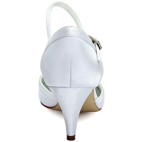 ElegantPark HC1509 Zapatos de tacón Zapato con cierre raso Cerrado zapatos de novia Mujer blanco