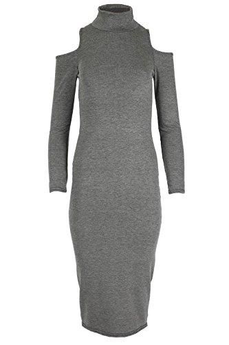 OopS Outlet Femmes épaule dénudée Robe Jersey Femmes Col Roulé célébrité inspiré Midi Top - Charbon, Grande taille (EU 48/50)