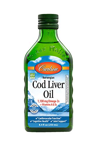 Carlson Cod Liver Oil, Norwegian, Natural, 1,100 mg Omega-3s, 250 mL