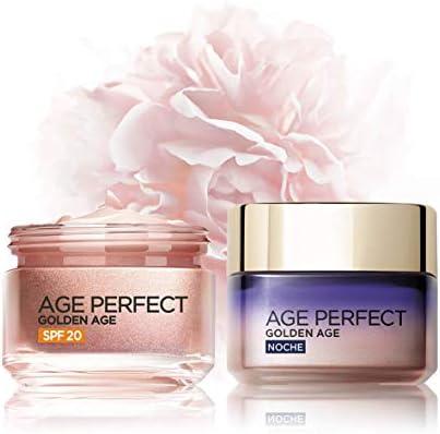 L'Oréal Paris Age Perfect Golden Age Set de Crema de Día Rosa con Protección Solar SPF 20 y Crema de Noche Fortificante, Antiarrugas y Luminosidad, Pieles Maduras y Apagadas, 50 ml cada una