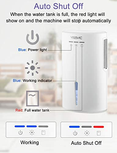 YISSVIC Dehumidifier 2000ml Air Dehumidifier Portable Electric Dehumidifier with LED Indicator Auto Shut off Auto Defrost for Home Bedroom Bathroom